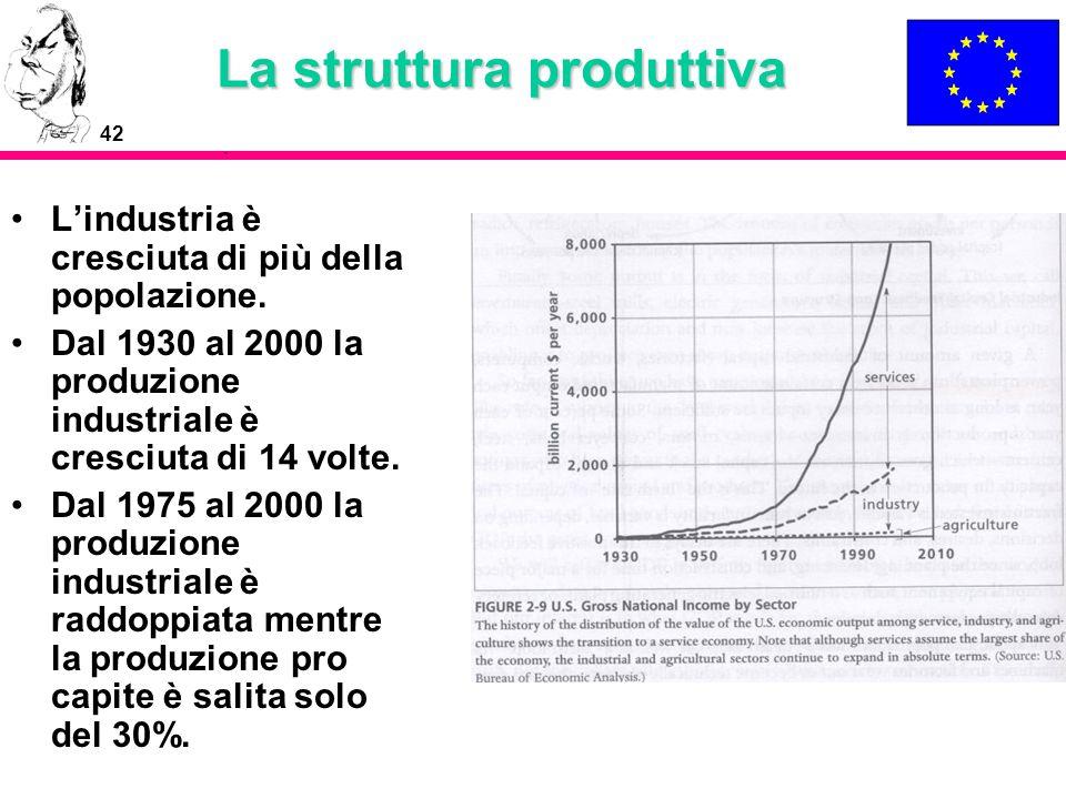 42 La struttura produttiva Lindustria è cresciuta di più della popolazione. Dal 1930 al 2000 la produzione industriale è cresciuta di 14 volte. Dal 19
