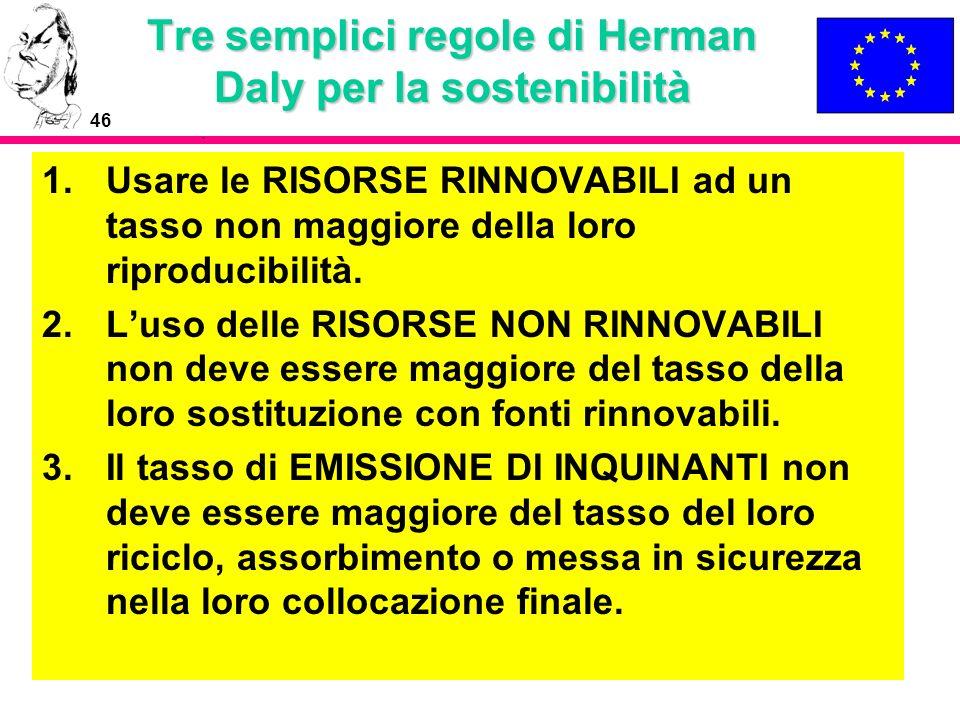 46 Tre semplici regole di Herman Daly per la sostenibilità 1.Usare le RISORSE RINNOVABILI ad un tasso non maggiore della loro riproducibilità. 2.Luso