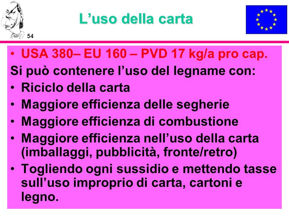 54 Luso della carta USA 380– EU 160 – PVD 17 kg/a pro cap. Si può contenere luso del legname con: Riciclo della carta Maggiore efficienza delle segher