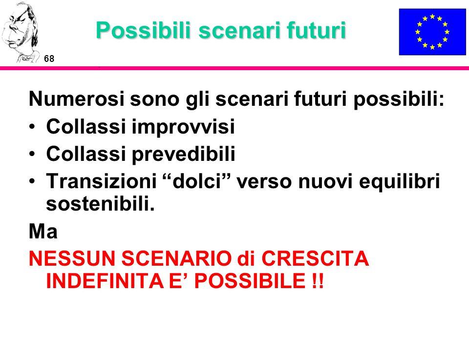 68 Possibili scenari futuri Numerosi sono gli scenari futuri possibili: Collassi improvvisi Collassi prevedibili Transizioni dolci verso nuovi equilib