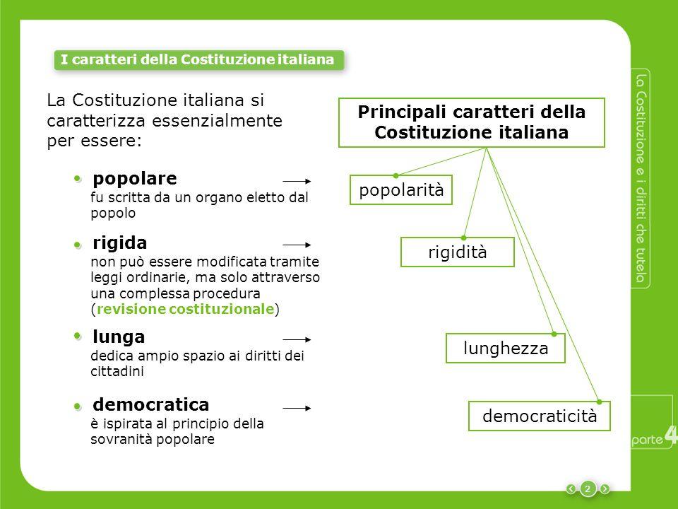 2 I caratteri della Costituzione italiana popolarità democraticità lunghezza rigidità Principali caratteri della Costituzione italiana popolare fu scr