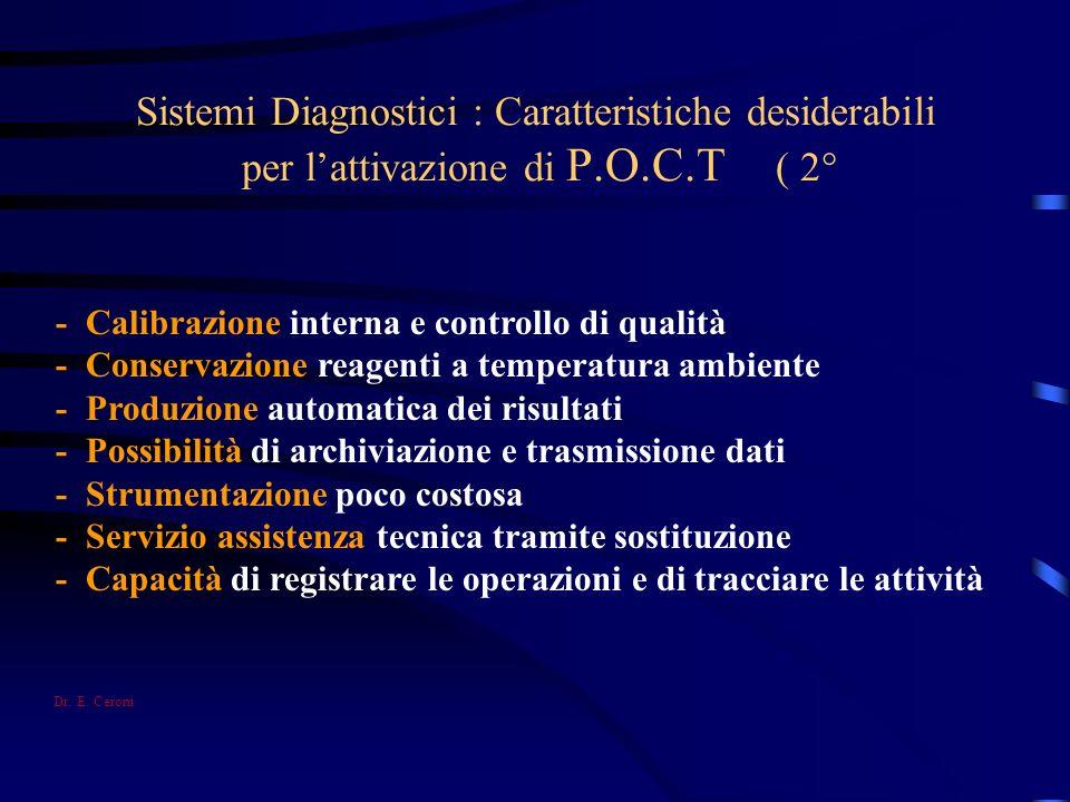 Sistemi Diagnostici : Caratteristiche desiderabili per lattivazione di P.O.C.T ( 2° - Calibrazione interna e controllo di qualità - Conservazione reag