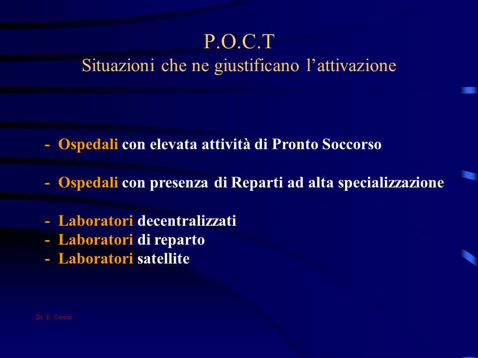 P.O.C.T Situazioni che ne giustificano lattivazione - Ospedali con elevata attività di Pronto Soccorso - Ospedali con presenza di Reparti ad alta spec