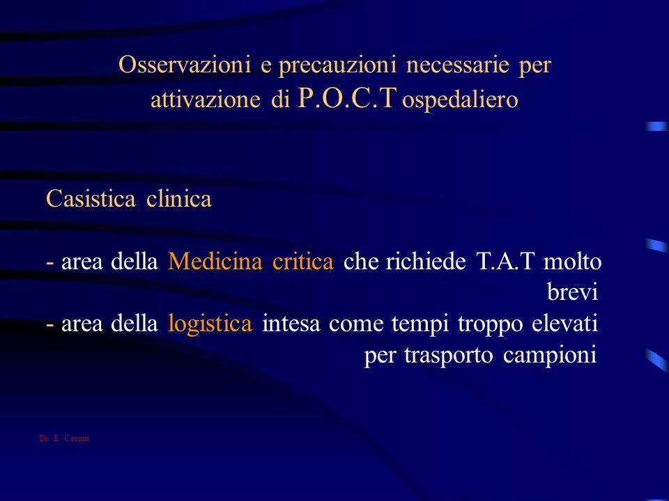 Osservazioni e precauzioni necessarie per attivazione di P.O.C.T ospedaliero Casistica clinica - area della Medicina critica che richiede T.A.T molto