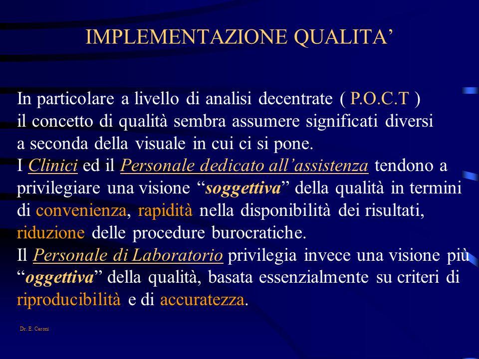 IMPLEMENTAZIONE QUALITA In particolare a livello di analisi decentrate ( P.O.C.T ) il concetto di qualità sembra assumere significati diversi a second