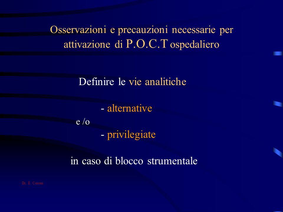 Osservazioni e precauzioni necessarie per attivazione di P.O.C.T ospedaliero Definire le vie analitiche - alternative e /o - privilegiate in caso di b