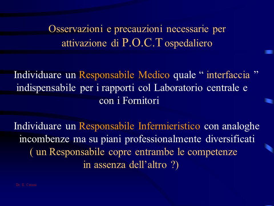 Osservazioni e precauzioni necessarie per attivazione di P.O.C.T ospedaliero Individuare un Responsabile Medico quale interfaccia indispensabile per i