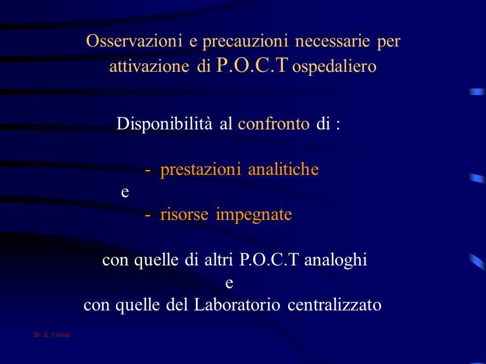 Osservazioni e precauzioni necessarie per attivazione di P.O.C.T ospedaliero Disponibilità al confronto di : - prestazioni analitiche e - risorse impe