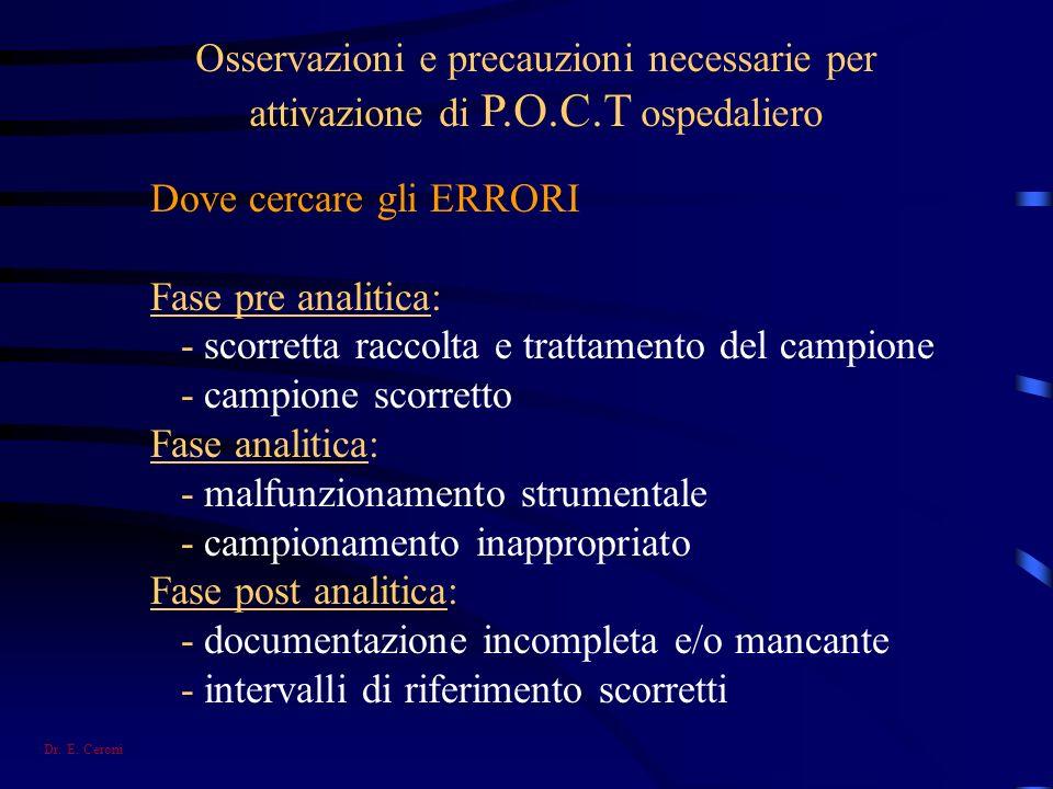 Osservazioni e precauzioni necessarie per attivazione di P.O.C.T ospedaliero Dove cercare gli ERRORI Fase pre analitica: - scorretta raccolta e tratta