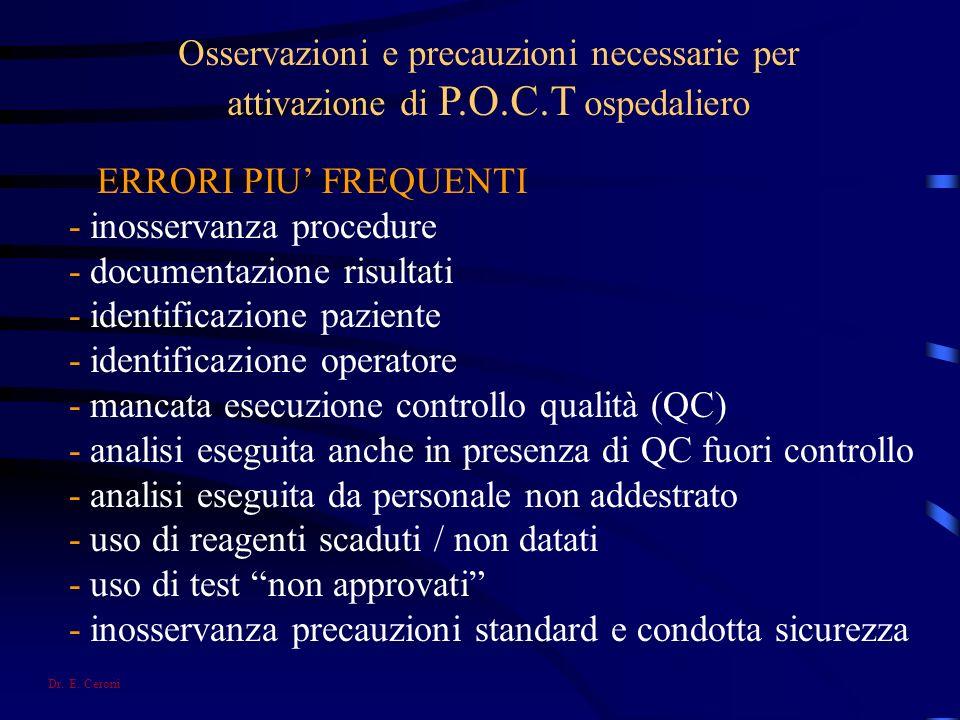 Osservazioni e precauzioni necessarie per attivazione di P.O.C.T ospedaliero ERRORI PIU FREQUENTI - inosservanza procedure - documentazione risultati