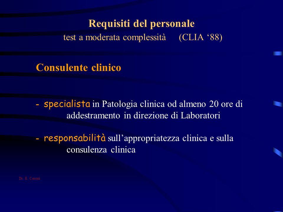 Requisiti del personale test a moderata complessità (CLIA 88) Consulente clinico - specialista in Patologia clinica od almeno 20 ore di addestramento