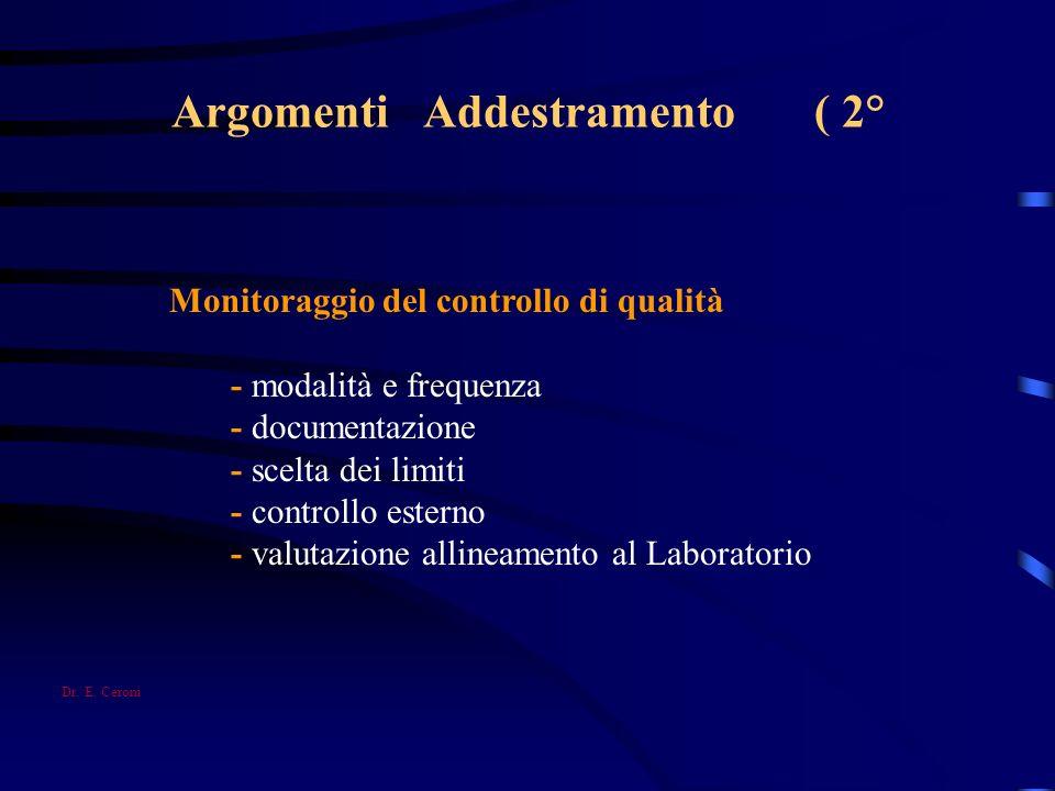 Argomenti Addestramento ( 2° Monitoraggio del controllo di qualità - modalità e frequenza - documentazione - scelta dei limiti - controllo esterno - v