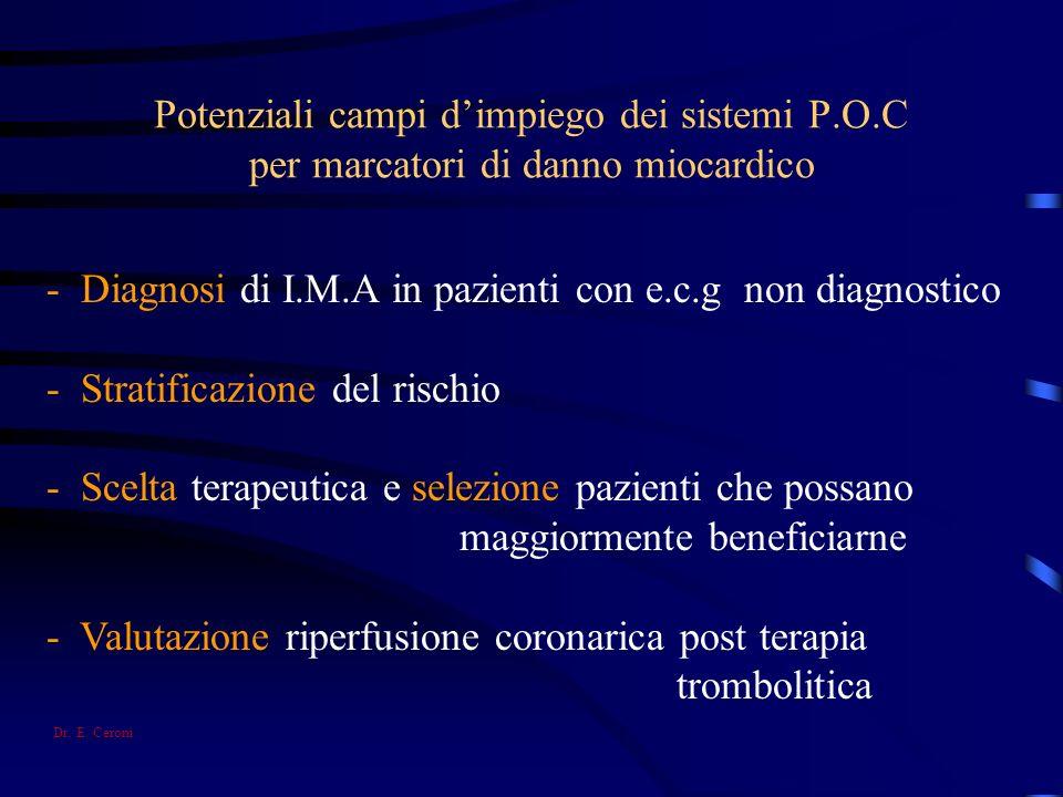 Potenziali campi dimpiego dei sistemi P.O.C per marcatori di danno miocardico - Diagnosi di I.M.A in pazienti con e.c.g non diagnostico - Stratificazi
