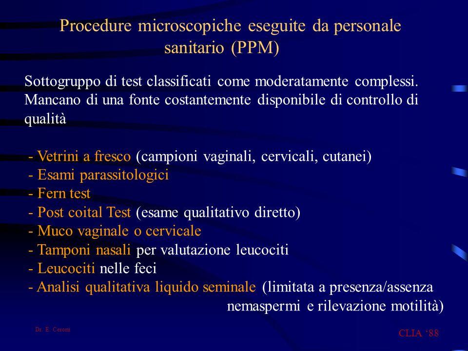 Procedure microscopiche eseguite da personale sanitario (PPM) Sottogruppo di test classificati come moderatamente complessi. Mancano di una fonte cost
