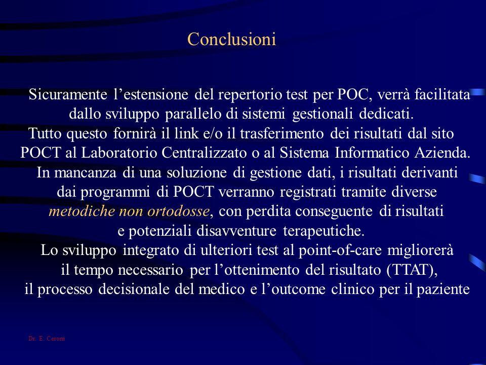 Conclusioni Sicuramente lestensione del repertorio test per POC, verrà facilitata dallo sviluppo parallelo di sistemi gestionali dedicati. Tutto quest