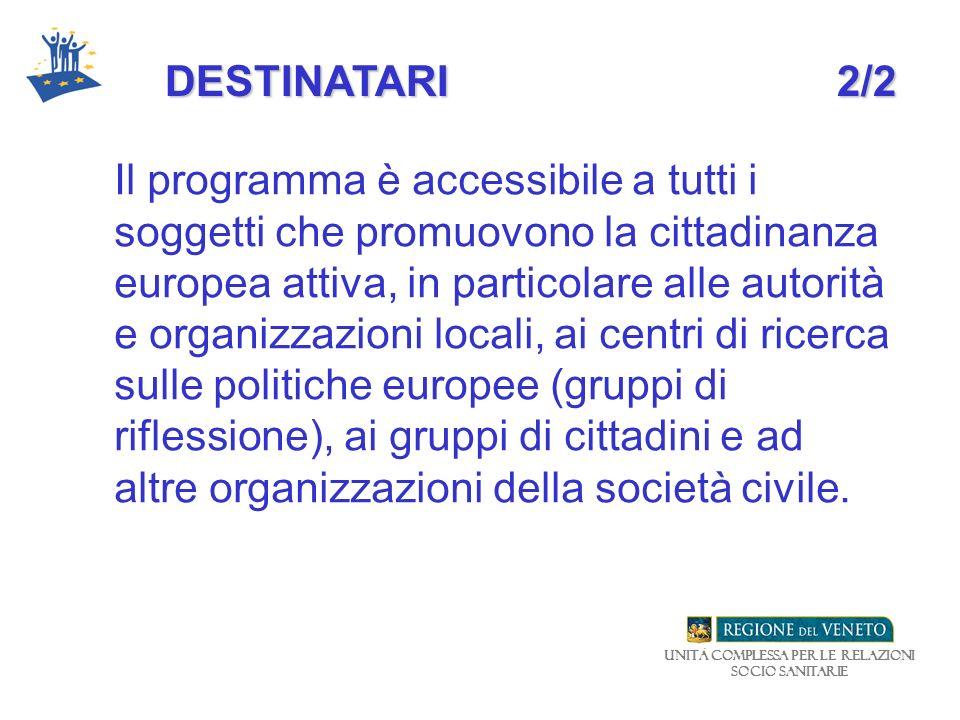 Unità Complessa per le relazioni Socio Sanitarie DESTINATARI2/2 Il programma è accessibile a tutti i soggetti che promuovono la cittadinanza europea a