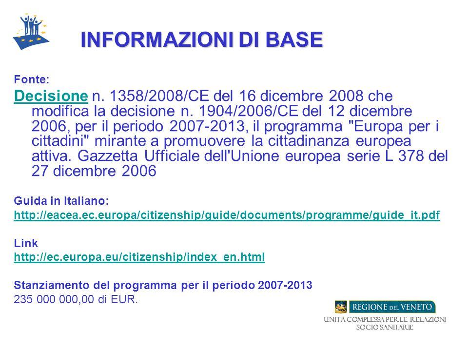 Unità Complessa per le relazioni Socio Sanitarie INFORMAZIONI DI BASE Fonte: DecisioneDecisione n. 1358/2008/CE del 16 dicembre 2008 che modifica la d