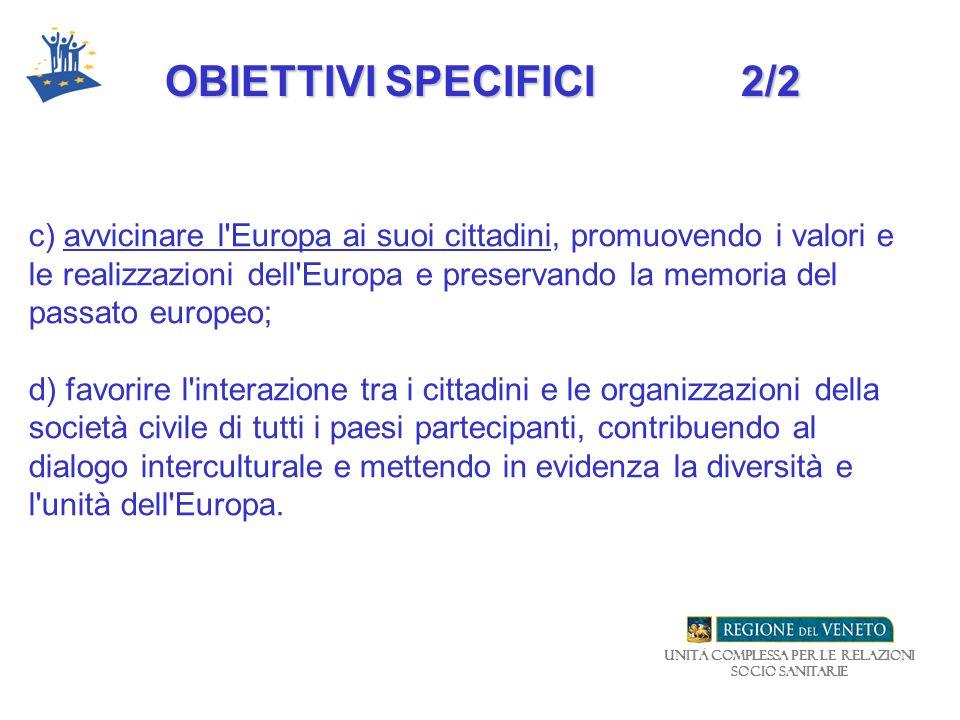 Unità Complessa per le relazioni Socio Sanitarie c) avvicinare l'Europa ai suoi cittadini, promuovendo i valori e le realizzazioni dell'Europa e prese