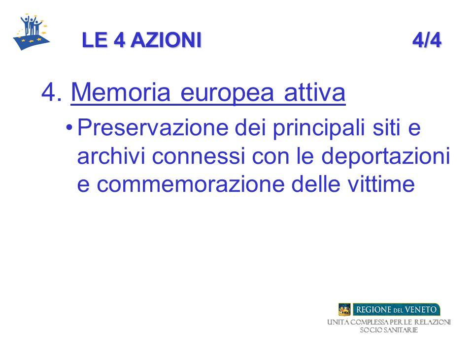 Unità Complessa per le relazioni Socio Sanitarie LE 4 AZIONI4/4 4. Memoria europea attiva Preservazione dei principali siti e archivi connessi con le