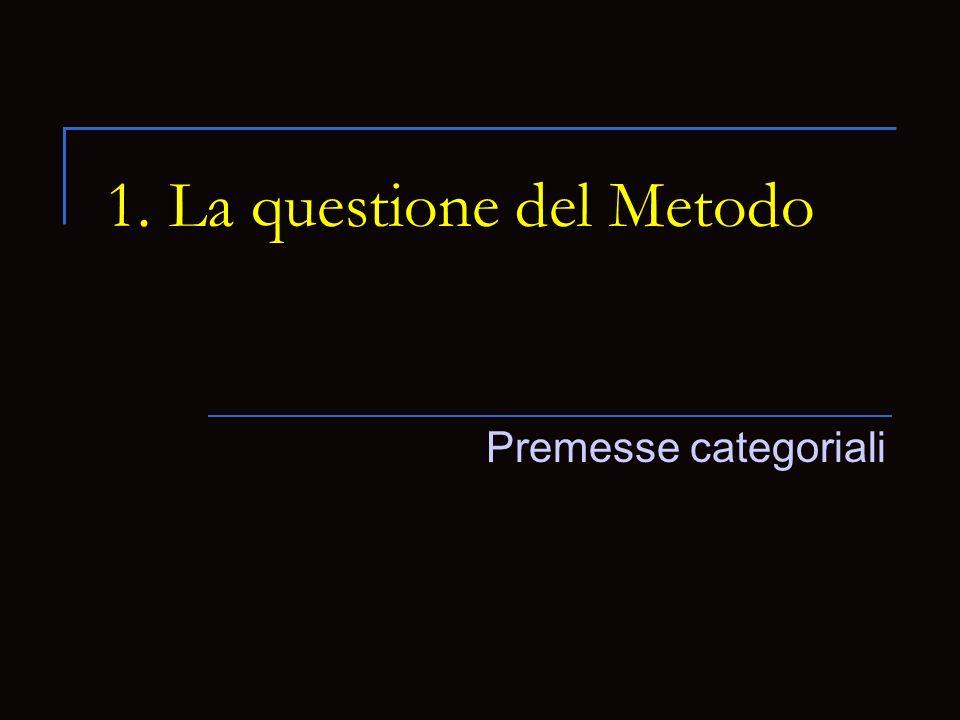 1. La questione del Metodo Premesse categoriali