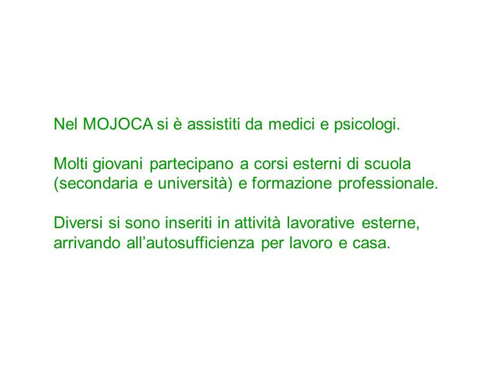 Nel MOJOCA si è assistiti da medici e psicologi. Molti giovani partecipano a corsi esterni di scuola (secondaria e università) e formazione profession