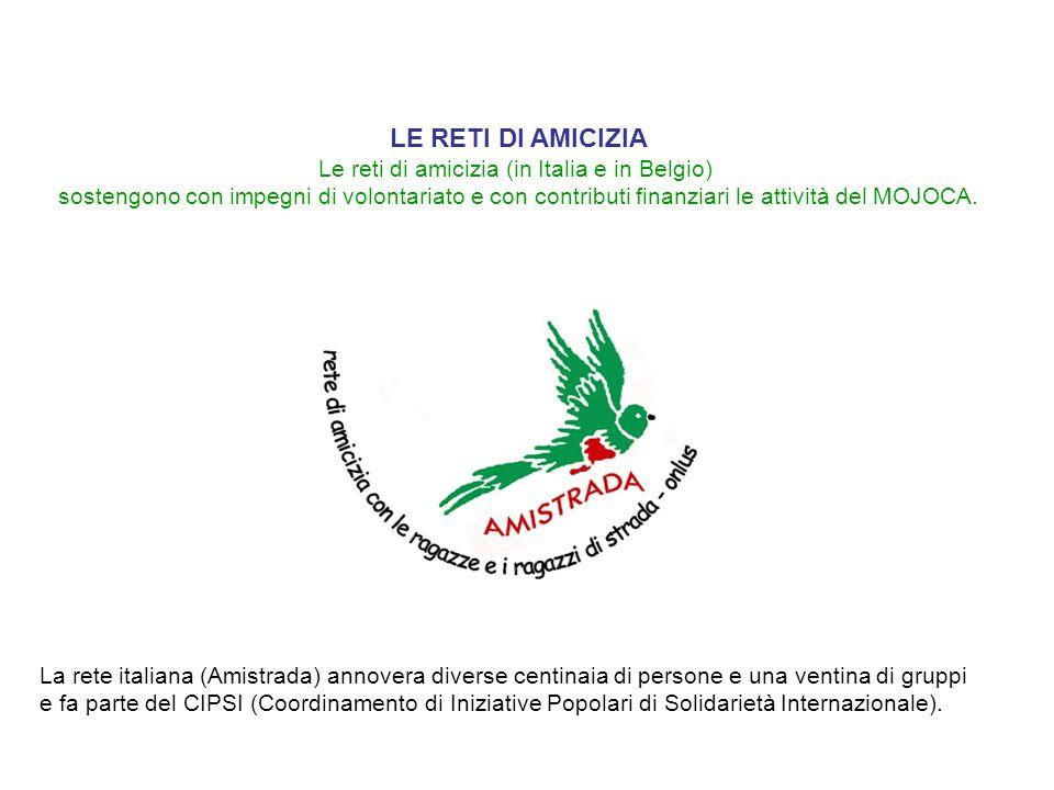 LE RETI DI AMICIZIA Le reti di amicizia (in Italia e in Belgio) sostengono con impegni di volontariato e con contributi finanziari le attività del MOJ