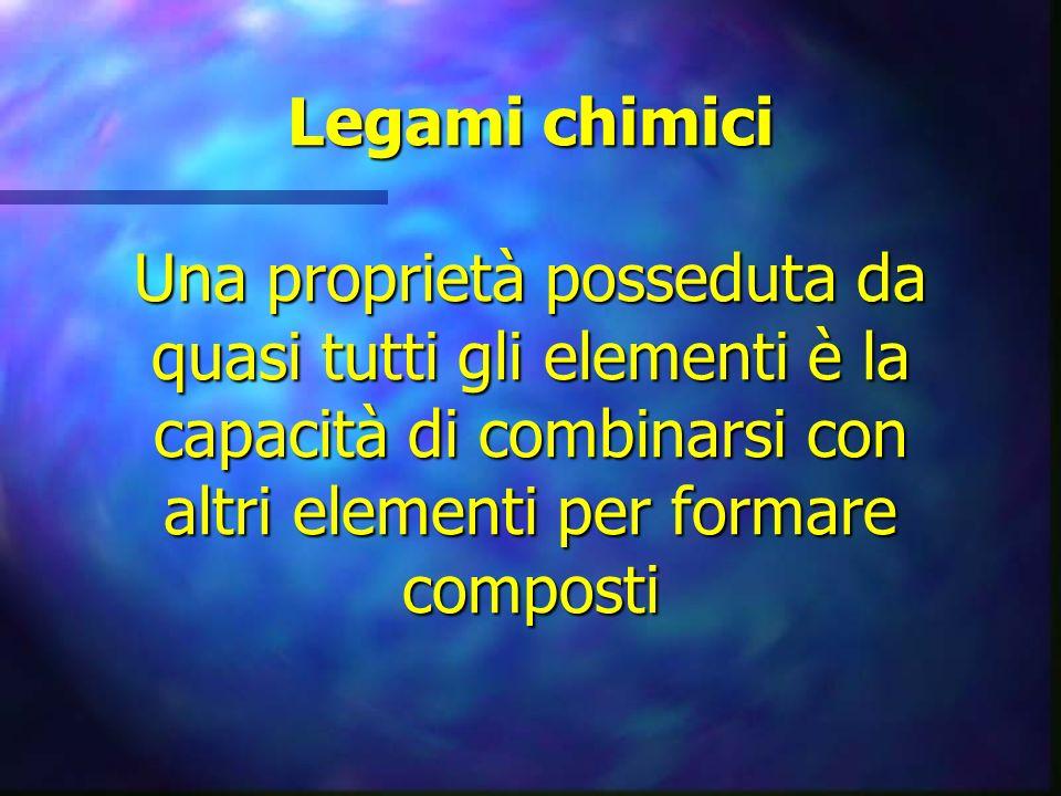 Legami chimici Una proprietà posseduta da quasi tutti gli elementi è la capacità di combinarsi con altri elementi per formare composti