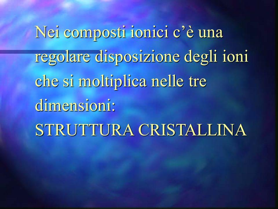 Nei composti ionici cè una regolare disposizione degli ioni che si moltiplica nelle tre dimensioni: STRUTTURA CRISTALLINA