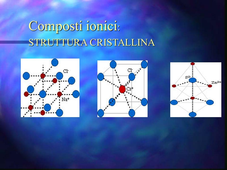 Composti ionici : STRUTTURA CRISTALLINA
