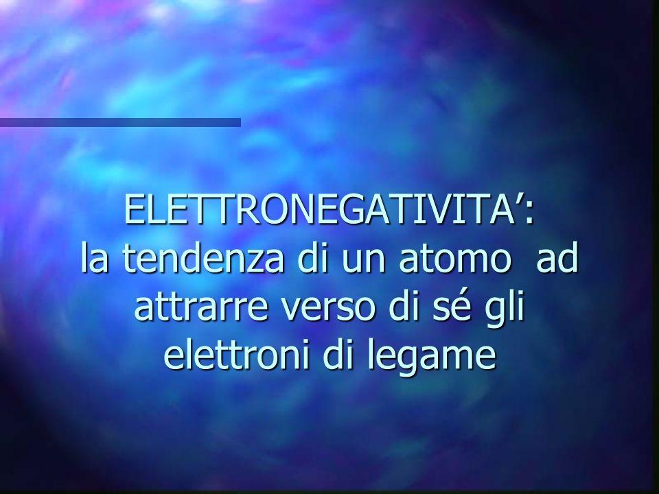 ELETTRONEGATIVITA: la tendenza di un atomo ad attrarre verso di sé gli elettroni di legame