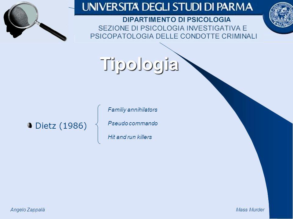 Angelo Zappalà Mass Murder Dietz (1986) Familiy annihilators Pseudo commando Hit and run killers Tipologia