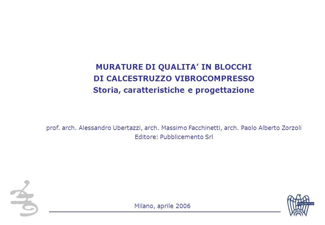 1 Milano, aprile 2006 MURATURE DI QUALITA IN BLOCCHI DI CALCESTRUZZO VIBROCOMPRESSO Storia, caratteristiche e progettazione prof. arch. Alessandro Ube