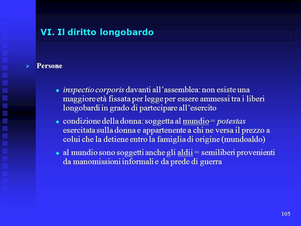 105 VI. Il diritto longobardo Persone inspectio corporis davanti allassemblea: non esiste una maggiore età fissata per legge per essere ammessi tra i