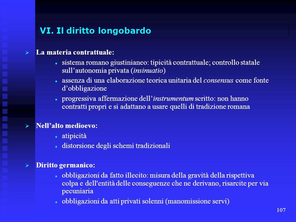 107 VI. Il diritto longobardo La materia contrattuale: sistema romano giustinianeo: tipicità contrattuale; controllo statale sullautonomia privata (in