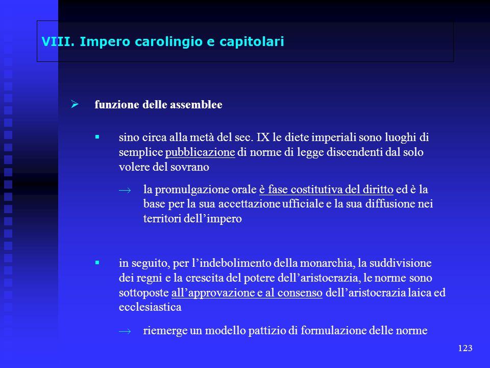 123 VIII. Impero carolingio e capitolari funzione delle assemblee sino circa alla metà del sec. IX le diete imperiali sono luoghi di semplice pubblica
