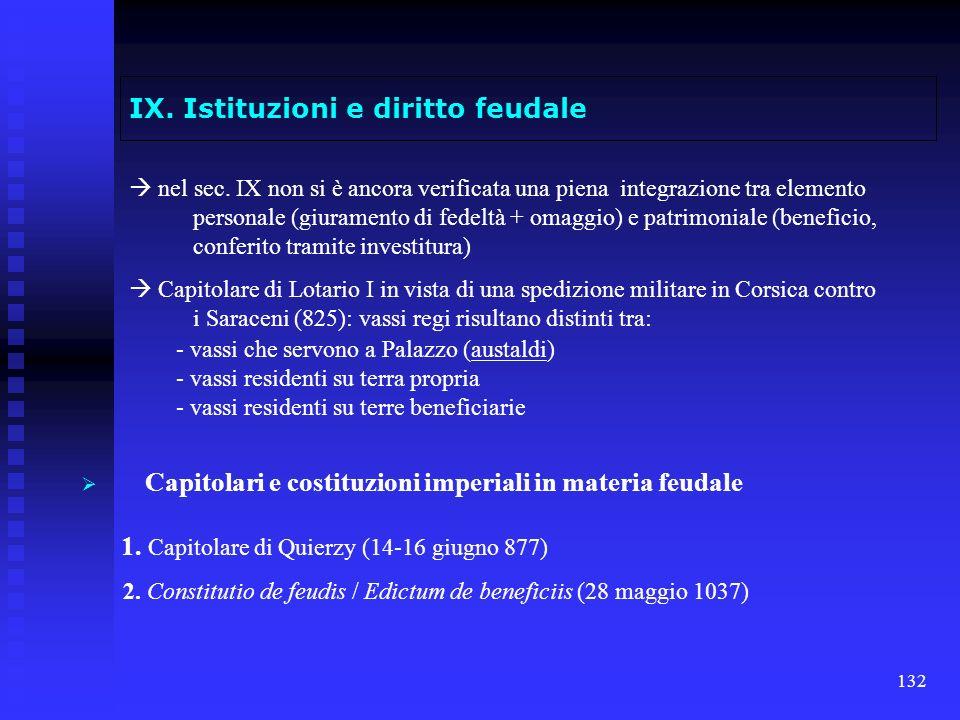 132 IX. Istituzioni e diritto feudale nel sec. IX non si è ancora verificata una piena integrazione tra elemento personale (giuramento di fedeltà + om