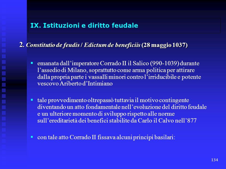 134 IX. Istituzioni e diritto feudale 2. Constitutio de feudis / Edictum de beneficiis (28 maggio 1037) emanata dallimperatore Corrado II il Salico (9