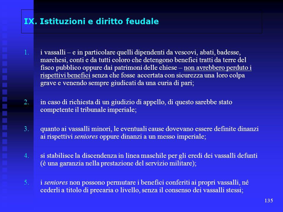 135 IX. Istituzioni e diritto feudale 1. 1.i vassalli – e in particolare quelli dipendenti da vescovi, abati, badesse, marchesi, conti e da tutti colo