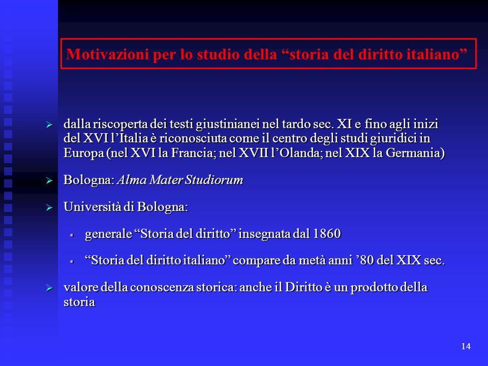 14 Motivazioni per lo studio della storia del diritto italiano dalla riscoperta dei testi giustinianei nel tardo sec. XI e fino agli inizi del XVI lIt