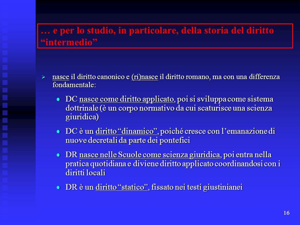 16 … e per lo studio, in particolare, della storia del diritto intermedio nasce il diritto canonico e (ri)nasce il diritto romano, ma con una differen