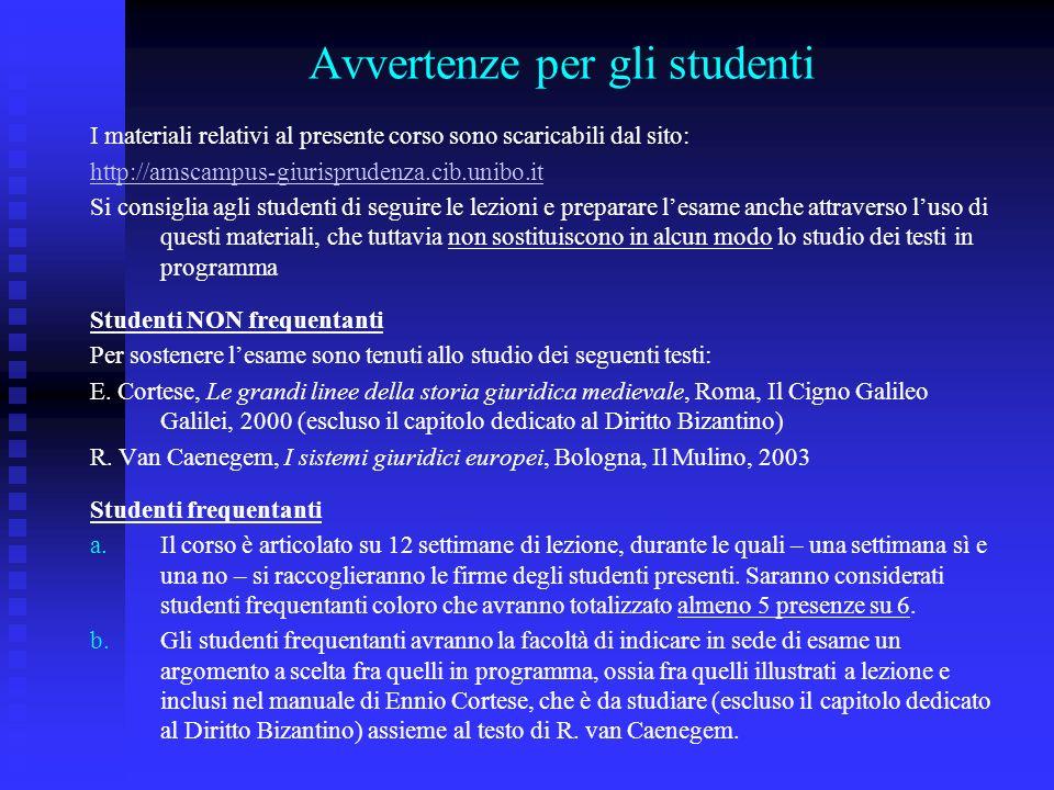 Avvertenze per gli studenti I materiali relativi al presente corso sono scaricabili dal sito: http://amscampus-giurisprudenza.cib.unibo.it Si consigli