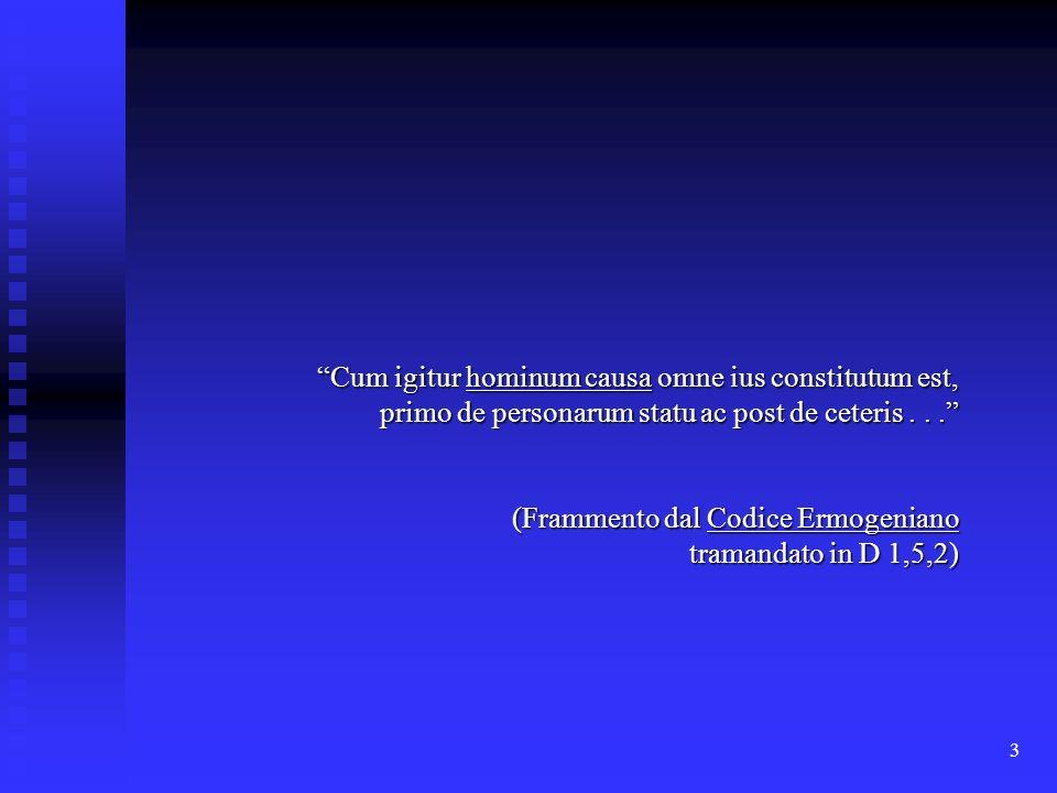 3 Cum igitur hominum causa omne ius constitutum est, primo de personarum statu ac post de ceteris... (Frammento dal Codice Ermogeniano tramandato in D