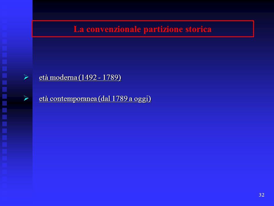 32 La convenzionale partizione storica età moderna (1492 - 1789) età moderna (1492 - 1789) età contemporanea (dal 1789 a oggi) età contemporanea (dal