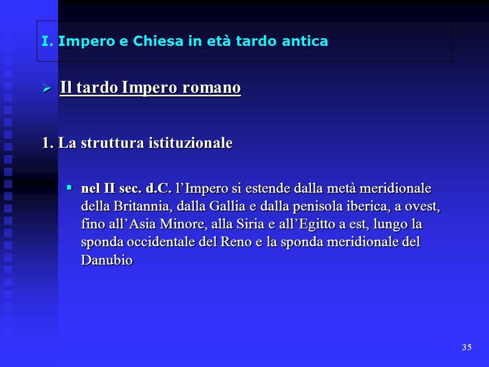 35 I. Impero e Chiesa in età tardo antica Il tardo Impero romano Il tardo Impero romano 1. La struttura istituzionale nel II sec. d.C. lImpero si este