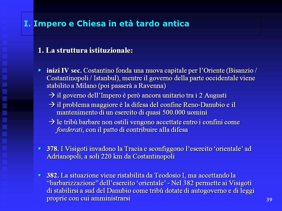 39 I. Impero e Chiesa in età tardo antica 1. La struttura istituzionale: inizi IV sec. Costantino fonda una nuova capitale per lOriente (Bisanzio / Co