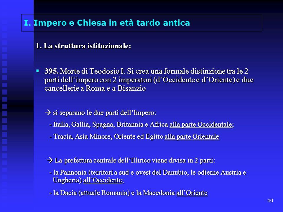 40 I. Impero e Chiesa in età tardo antica 1. La struttura istituzionale: 395. Morte di Teodosio I. Si crea una formale distinzione tra le 2 parti dell
