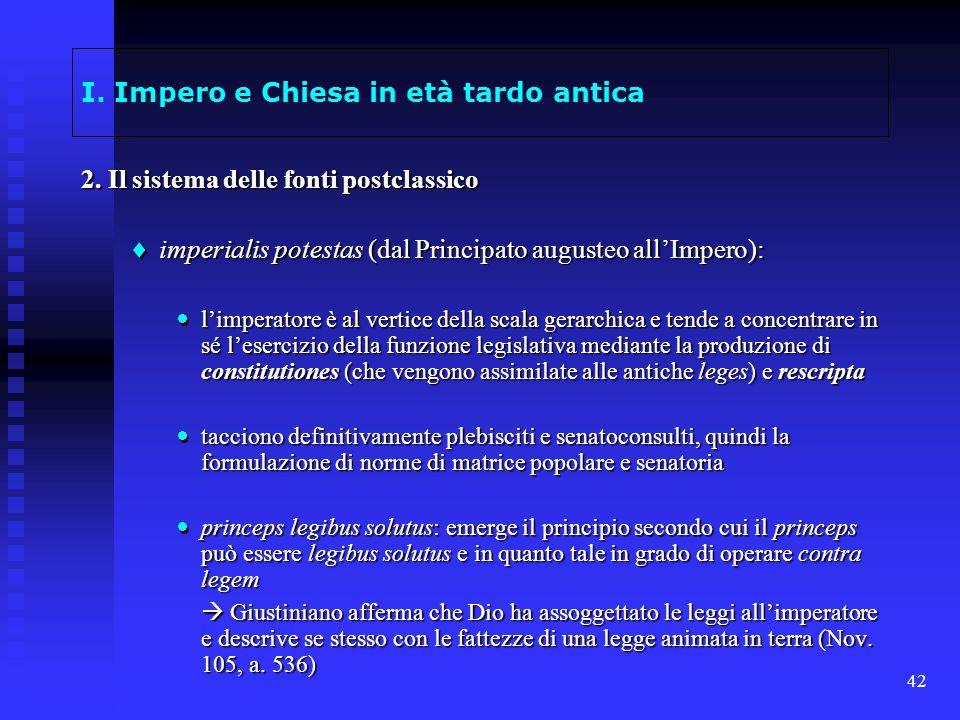 42 I. Impero e Chiesa in età tardo antica 2. Il sistema delle fonti postclassico imperialis potestas (dal Principato augusteo allImpero): imperialis p