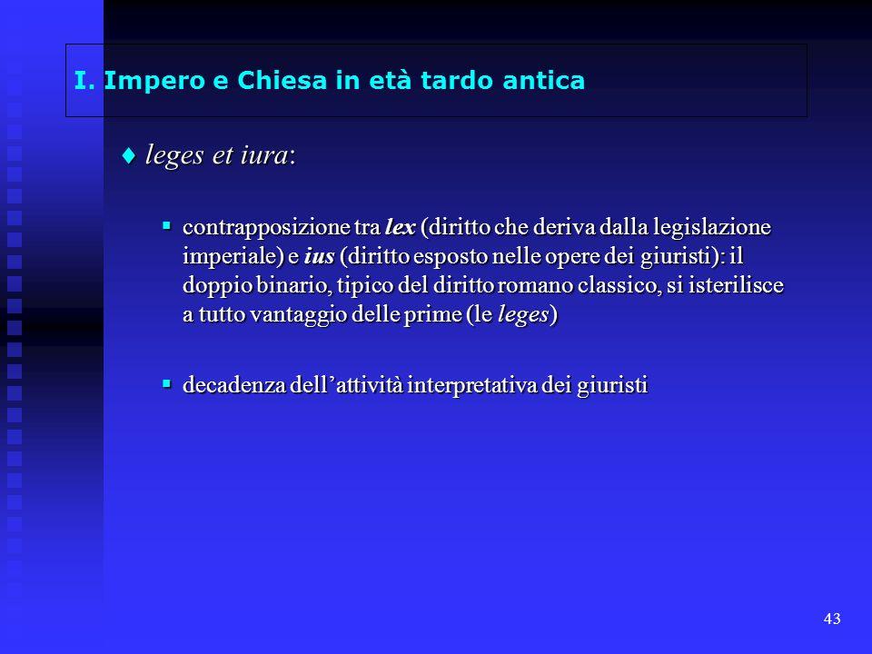 43 I. Impero e Chiesa in età tardo antica leges et iura: leges et iura: contrapposizione tra lex (diritto che deriva dalla legislazione imperiale) e i