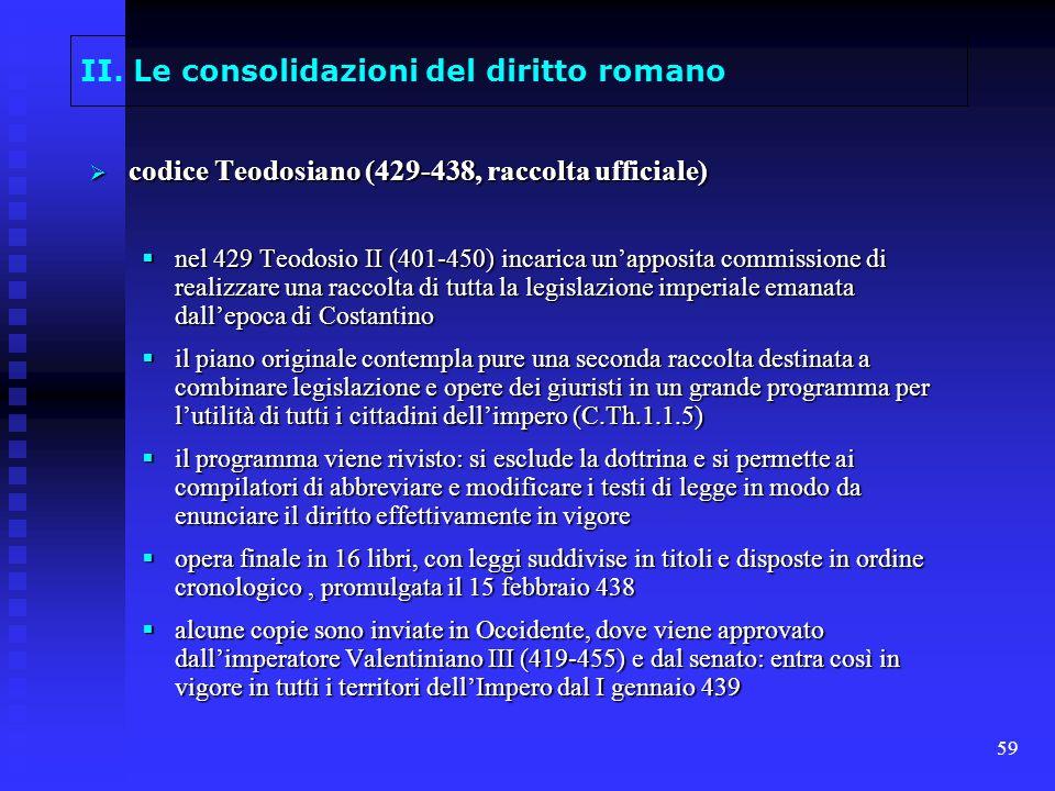59 II. Le consolidazioni del diritto romano codice Teodosiano (429-438, raccolta ufficiale) codice Teodosiano (429-438, raccolta ufficiale) nel 429 Te