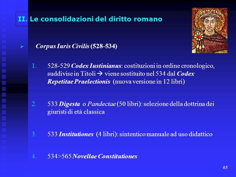 65 II. Le consolidazioni del diritto romano Corpus Iuris Civilis (528-534) 1. 1.528-529 Codex Iustinianus: costituzioni in ordine cronologico, suddivi